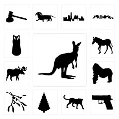 Set of kangaroo outline on white background, handgun cheetah christmas tree images background icons