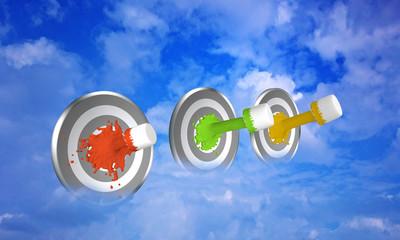 Farbe ins Leben bringen. Farbstrahl auf Zielscheibe im Wolkenhimmel. 3d render
