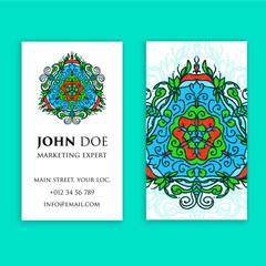 Vintage decorative elements. Business Cards. Ornamental floral. Oriental pattern, vector illustration. Islam, Arabic Indian turkish motifs