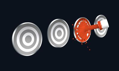 roter Farbstrahl auf Zielscheibe. 3d render