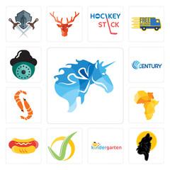 Set of, black wolf, kindergarten, checkmark, hot dog, africa map, shrimp, century, security camera icons