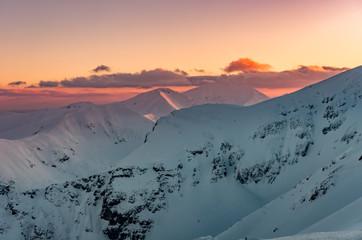 Beautiful mountain sunset panorama, Tatra mountains Poland