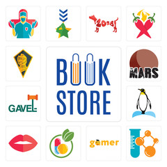 Set of book store, chemical company, gamer, homeopathy, lips, penguin, gavel, mars, knight head icons