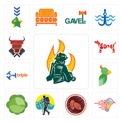 Set of firemen, catering services, cacao, trekking, cabbage, , triple, year the dog, butcher shop icons