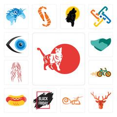 Set of cat, deer head, carpet, black friday sale, hot dog, bike shop, long hair, hand shaking, eyeball icons