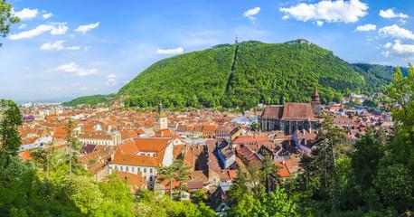 Wall Mural - Cityscape Brasov, aerial and panoramic view, Transylvania, Romania.