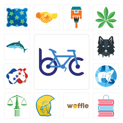 Set of bike club, book shop, waffle, warrior head, scales justice, polar, democrat, wolf face, icons