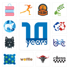Set of 10 year, chess, , waffle, pillow, bike club, wolf face, democrat, polar icons