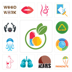 Set of homeopathy, parachute, mars, lungs, maternity, , jellyfish, recycle reuse uce, revolver icons