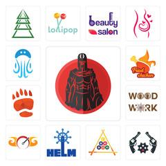 Set of spartan, revolver, billiard, helm, speedometer, woodwork, bear paw, fried chicken, jellyfish icons