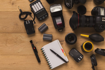 Photographer equipment and blank notepad