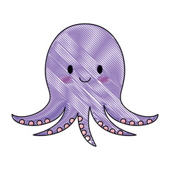 cute octopus icon over white background, colorful design. vector illustation