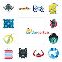 Set of kindergarten, polar, bull horn, wolf face, book shop, security camera, checkmark, equestrian, pillow icons