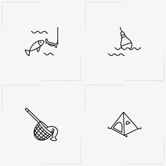 Fishing line icon set with float , bait for fish and camping tent