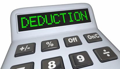 Deduction Word Calculator Tax Budget Expense 3d Render Illustration