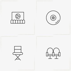 Cinema line icon set with compact disk, cinema hall chairs  and producer chair