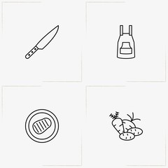 Barbecue line icon set with apron, stake barbecue and vegetables