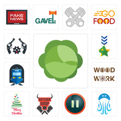 Set of cabbage, jellyfish, pause, butcher shop, merry christmas, woodwork, train station, military, revolver icons