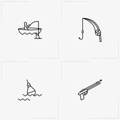 Fishing line icon set with fishing rod, fishing gun  and float