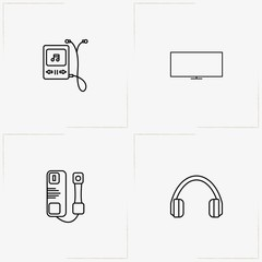 Electronic Devices line icon set with headphone, television and music player