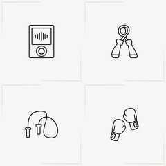 Fitness line icon set with music player, hand expander and jumping rope