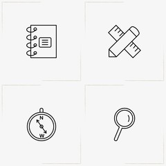 Education line icon set with pencil with ruler , note book and compass