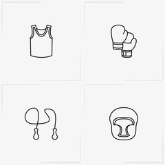 Boxing line icon set with boxing gloves, sport shirt and boxing helmet
