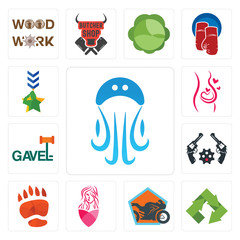 Set of jellyfish, recycle, motorcycle shop, salon, bear paw, revolver, gavel, pregnancy, military icons