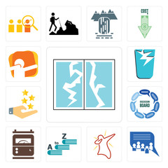 Set of broken glass, discussion board, dab, vocabulary, electric meter, customer experience, dab icons