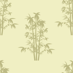 Seamless repeat background pattern of bammboo plants in silhouette.
