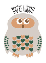 "Owl character greeting card with text  ""You're a Hoot"". Editable labelled layers."