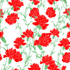 Elegance Seamless pattern with flowers carnations