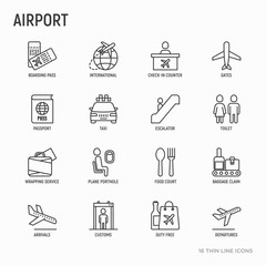 Airport thin line icons set: check-in counter, gates, boarding pass, escalator, toilet, food court, baggage claim, wrapping service, duty free, customs. Vector illustration.
