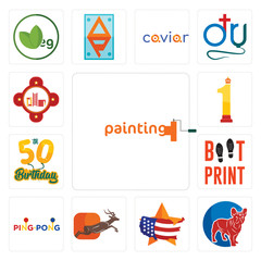 Set of painting company, french bulldog, us map, antelope, ping pong, boot print, 50th birthday, no.1, fire station icons