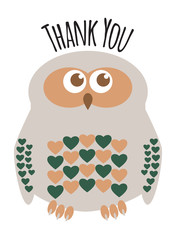 "Owl cute character with hearts for feathers greeting card with text  ""Thank You"". Editable labelled layers."