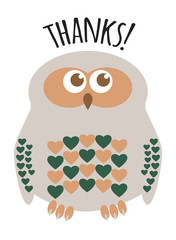 "Owl cute character with hearts for feathers greeting card with text  ""Thanks!"". Editable labelled layers."