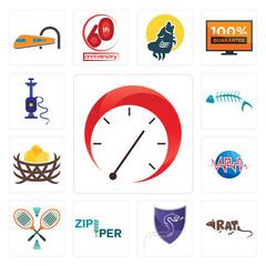 Set of tachometer, rat, viper, zipper, badminton, med, bird nest, fish skeleton, shisha icons
