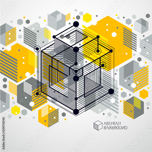 Mechanical Scheme Yellow Vector Engineering Drawing With 3D Cubes And Geometric Elements Technological