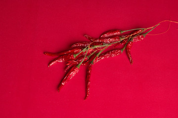 Dried chili peppers on a red background. top view.