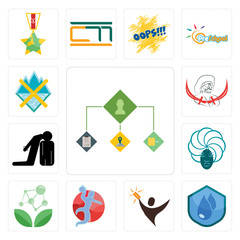 Set of order management, water resistant, lucky draw, handball, antioxidant, goddess, execution, pirate, crossed skis icons