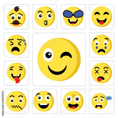Set of Wink emoji, Surprised Moon Happy Muted Dead Tongue Shocked
