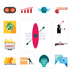 Set of kayak, video call, baboon, soon, participation, gun shop, breaking news, symptoms, pine cone icons