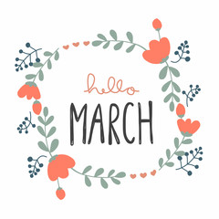 Hello March cute flower wreath vector illustration doodle style