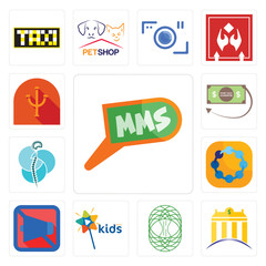 Set of mms, banque, celtic tree life, kids channel, mobile silent, teamspirit, neurosurgery, money back guarantee, psi icons