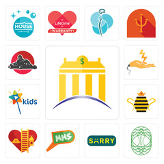 Set of banque, celtic tree life, sorry, mms, volunteer fire department, queen bee, kids channel, electrical contractor, kart icons