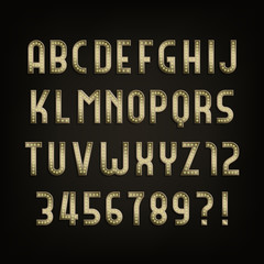 Retro sign alphabet. Vintage light bulb type letters and numbers on dark background. Signboard vector font for any typography design.