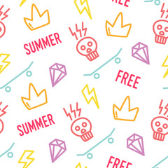 Color hipster pattern with old school tattoo elements in doodle style. Ornament for textile and wrapping. Vector summer background.