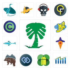 Set of saudi palm, free stock, mobile os a, double d, bear, travel, fishing team, shoe with wings, copyright icons