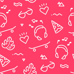 Summer pattern with old school tattoo elements in doodle style on red background. Ornament for textile and wrapping. Vector.