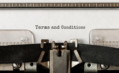 Text Terms and Conditions typed on retro typewriter